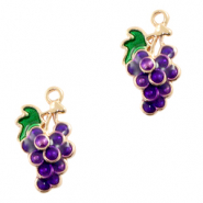 Metal charms grapes Gold-Purple
