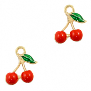 Metal charms cherries Gold-Red