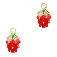 Metal charms strawberry Gold-Red