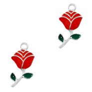 Metal charms rose Silver-Red