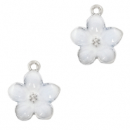 Metal charms flower Silver-White