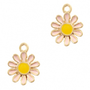 Metal charms flower Gold-Pink