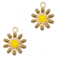 Metal charms flower Gold-Brown