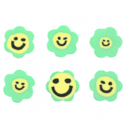 Polymer beads flower smiley Green