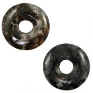 Natural stone charm disc Anthracite