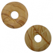 Natural stone charm disc Earth Brown