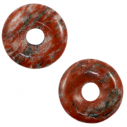 Natural stone charm disc Rusty Red