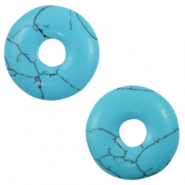 Faux natural stone charm disc Turquoise Blue