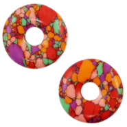 Faux natural stone charm disc Multicolour Red
