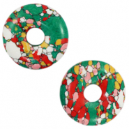 Faux natural stone charm disc Multicolour Green