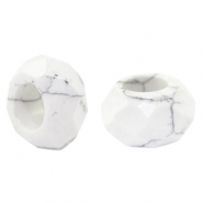 Natural stone faceted beads Marble White