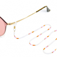 Sunglasses cords rocailles Gold-White-Pink