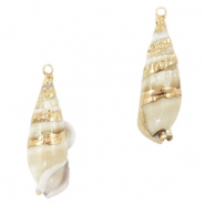 Shell pendant specials Horn Snail Pearl White-Gold
