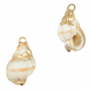 Shell pendants specials Horn Snail Creamy White-Gold