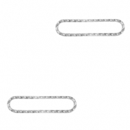 Stainless steel charms/connector oval Silver