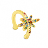 Zirconia rainbow ear cuff star Gold
