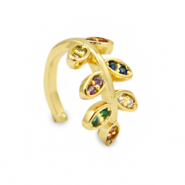 Zirconia rainbow ear cuff leaf Gold