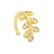 Zirconia ear cuff leaf Gold