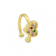 Zirconia rainbow ear cuff heart Gold