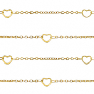 Stainless steel findings belcher chain hearts Gold
