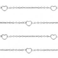 Stainless steel findings belcher chain hearts Silver