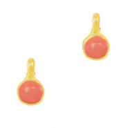 DQ European metal charms Coral Red-Gold (nickel free)