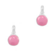 DQ European metal charms Pink-Antique Silver (nickel free)