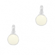 DQ European metal charms Creamy White-Antique Silver (nickel free)