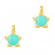 DQ European metal charms star Turquoise Green-Gold (nickel free)