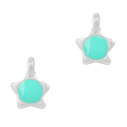DQ European metal charms star Turquoise Green-Antique Silver (nickel free)
