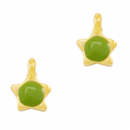 DQ European metal charms star Green-Gold (nickel free)