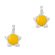 DQ European metal charms star Tropical Yellow-Antique Silver (nickel free)