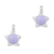 DQ European metal charms star Lilac Purple-Antique Silver (nickel free)