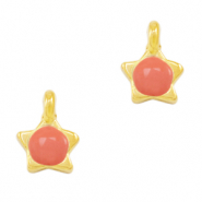 DQ European metal charms star Coral Red-Gold (nickel free)
