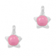 DQ European metal charms star Pink-Antique Silver (nickel free)