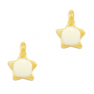 DQ European metal charms star Creamy White-Gold (nickel free)