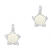 DQ European metal charms star Creamy White-Antique Silver (nickel free)