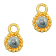 DQ European metal charms Pearl Grey-Gold (nickel free)