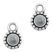 DQ European metal charms Pearl Grey-Antique Silver (nickel free)