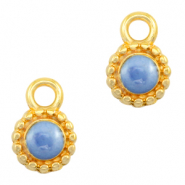 DQ European metal charms Pearl Blue-Gold (nickel free)