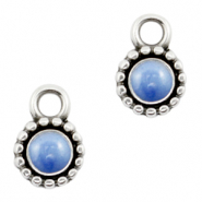 DQ European metal charms Pearl Blue-Antique Silver (nickel free)