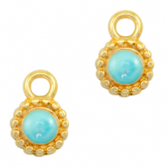 DQ European metal charms Pearl Turquoise Blue-Gold (nickel free)