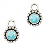 DQ European metal charms Pearl Turquoise Blue-Antique Silver (nickel free)