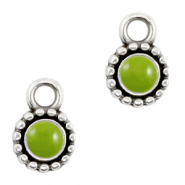 DQ European metal charms Green-Antique Silver (nickel free)