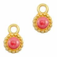 DQ European metal charms Pearl Coral Pink-Gold (nickel free)