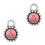 DQ European metal charms Pearl Coral Pink-Antique Silver (nickel free)