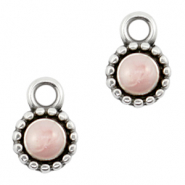 DQ European metal charms Pearl Light Pink-Antique Silver (nickel free)
