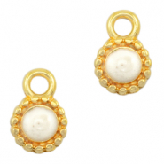 DQ European metal charms Pearl White-Gold (nickel free)