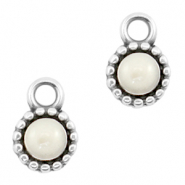DQ European metal charms Pearl White-Antique Silver (nickel free)