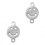 Stainless steel charms/connector smiley Silver